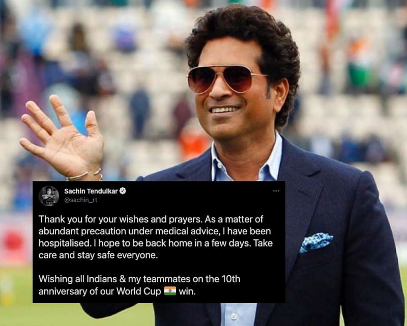 Sachin Tendulkar breaks the news of his hospitalisation after contracting Covid-19.