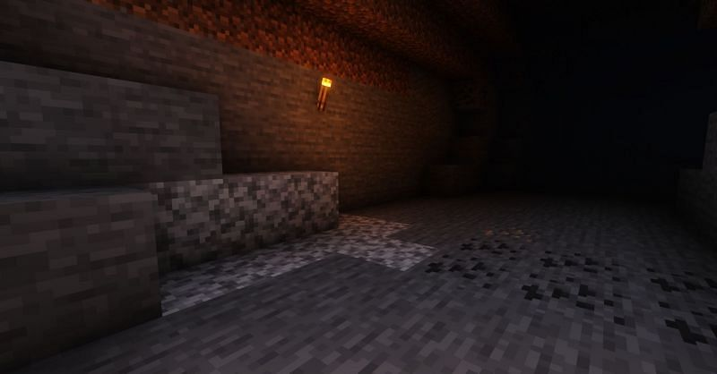 Shown: A natural vein of Diorite, found very close to the entrance of a cave (Image via Minecraft)