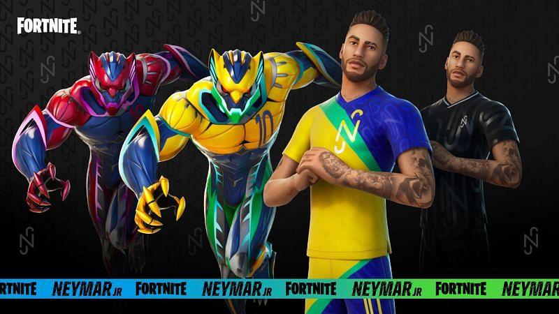 Neymar Jr in Fortnite - all cosmetic versions (Image via Epic Games)