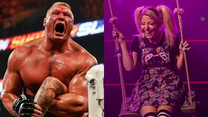 Brock Lesnar (left); Alexa Bliss (right)