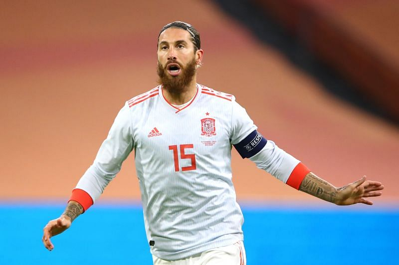 Sergio Ramos in action for Spain