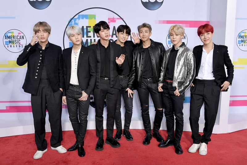 BTS arriving at the 2017 American Music Awards (Image via Getty Images)