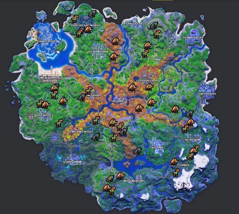 The map shows the potential spawn locations for all the wildlife on Fortnite island. Image via Fortnite.gg