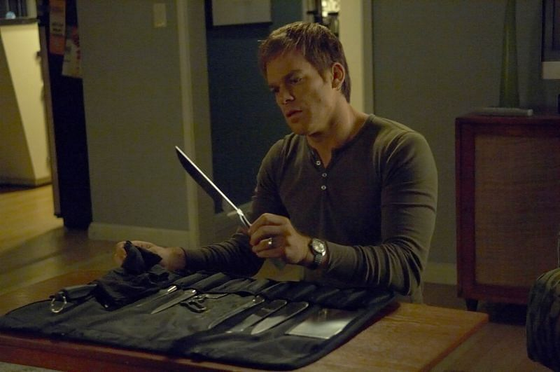 Dexter checking out his surgical knives (Image via Showtime Facebook)