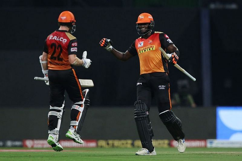 Holder(R) added great value to SRH in IPL 2020, but will he be a part of their playing XI this season? (Image Courtesy: IPLT20.com)
