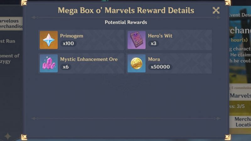 100 Primogems from Mega Box