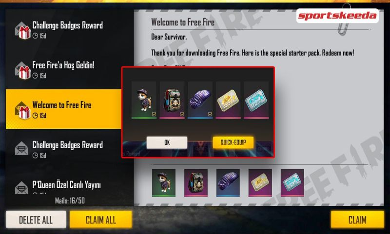 Rewards for the latest redeem code