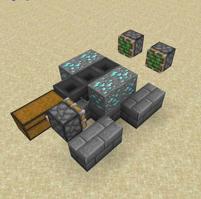 From there you will set up two slime pistons that will not only be floating, but will be one block away from the diamond ore.