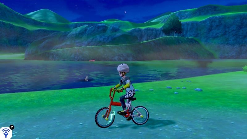Once you reach the bank of the Lake of Outrage, equip the upgraded Rotom Bike and prepare to cross the water