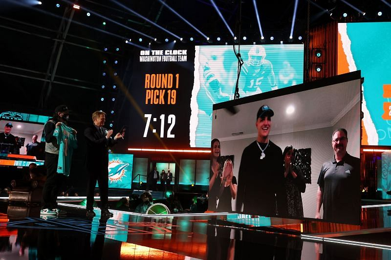 NFL Commissioner Roger Goodell announces Miami edge, Jaelan Phillips, as the 18th overall pick by the Miami Dolphins in the 2021 NFL Draft on April 29, 2021.