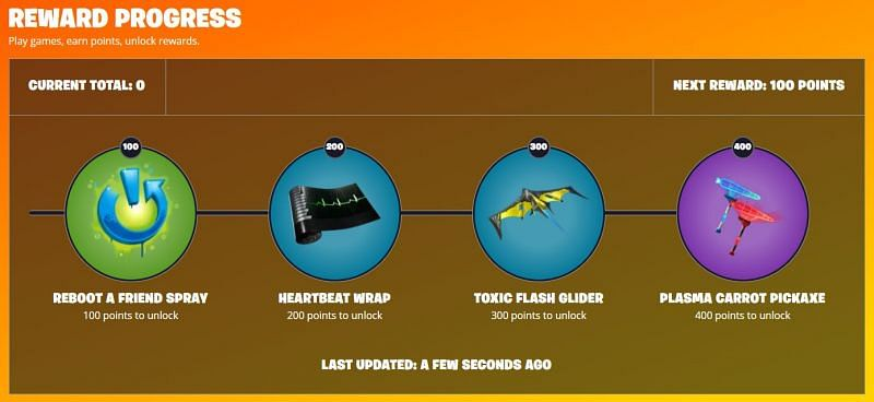 Rewards to be earned from the Fortnite Reboot-A-Friend event (Image via Fortnite, Epic Games)