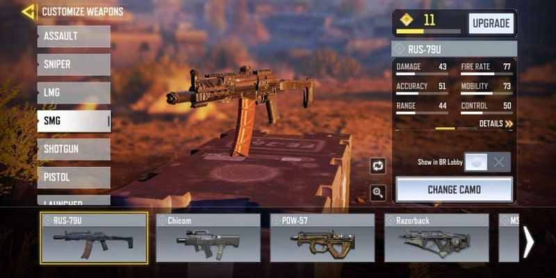 RUS-79U with in-game stats (Image via Activision)