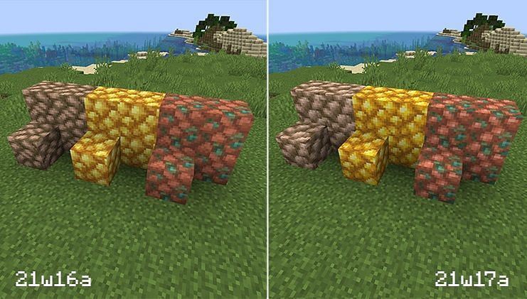 Comparison of Raw Ore texture(Image via Minecraft.net)