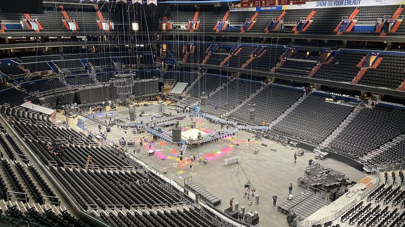 Crew setting up the arena before AEW