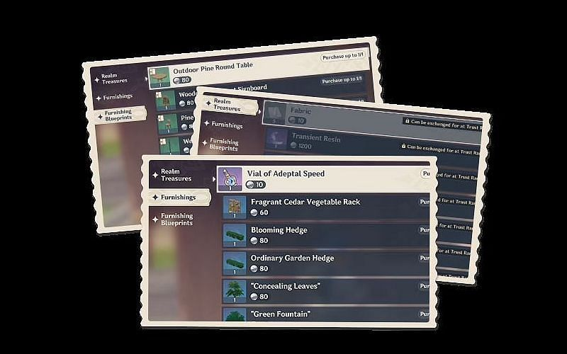 Realm System's Realm Depot pages (Image via Genshin Impact)