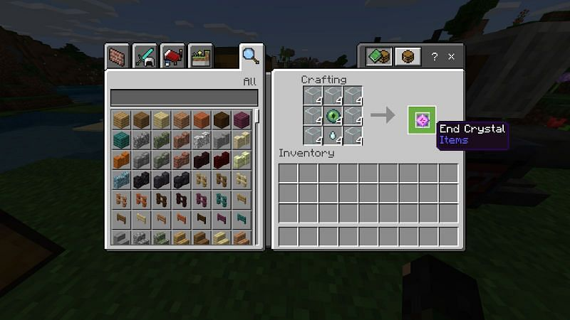 Once you have 28 glass, you can get started on making your 4 end crystals. To make an end crystal combine 7 glass, 1 ghast tears, and 1 eye of ender to make an end crystal.
