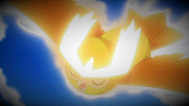 A Pokemon using Sky Attack in the anime (Image via The Pokemon Company)