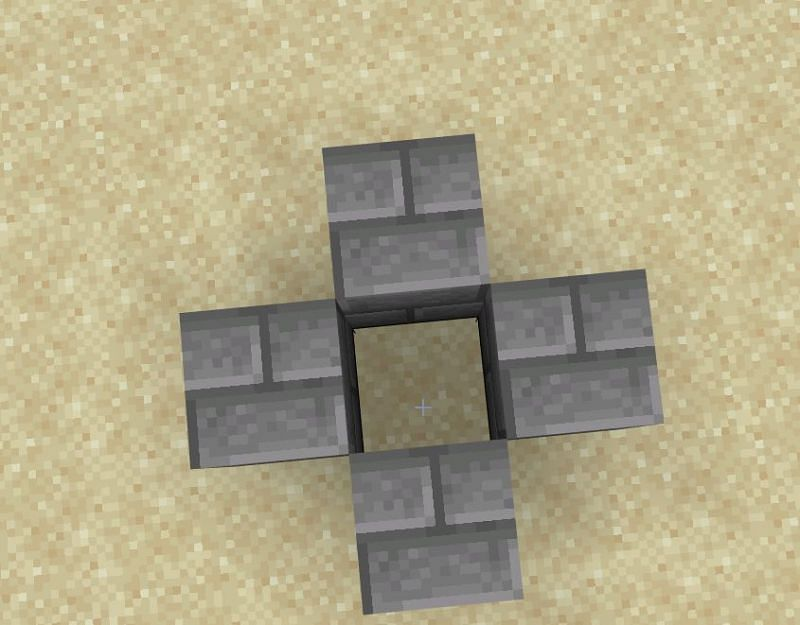 Firstly, you are going to take four of your stone blocks and place them in a formation where there is a hole in the center.