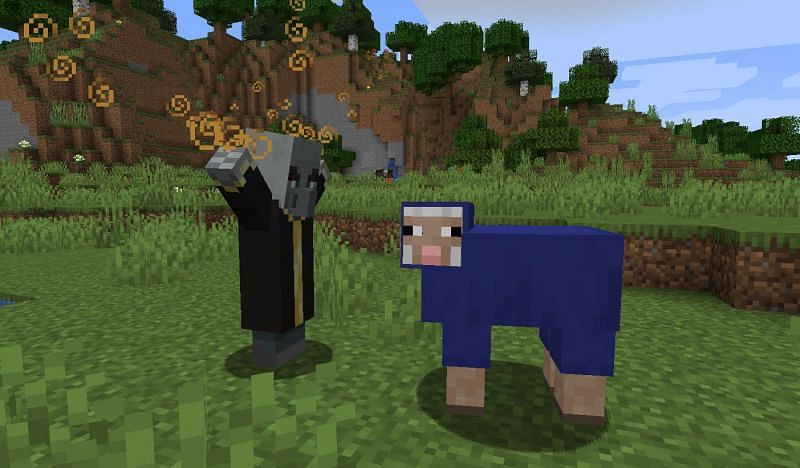 Shown: An Evoker about to change the color of a sheep (Image via Minecraft)