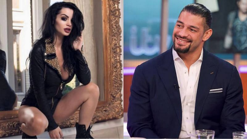 Paige (left) and Roman Reigns (right)