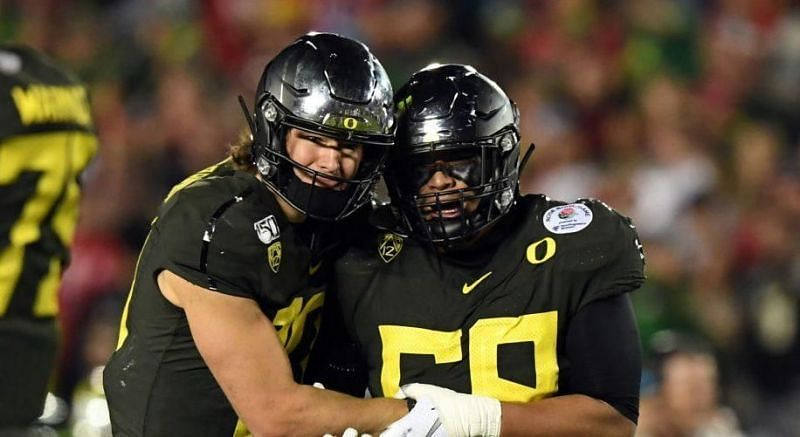 recent reports suggest that QB Justin Herbert is doing all he can to convince the Chargers to pluck for his old Oregon teammate Penei Sewell at this year