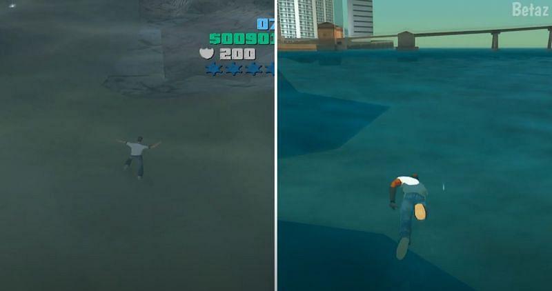 Tommy Vercetti cannot swim in GTA Vice City (Image via Betaz, YouTube)