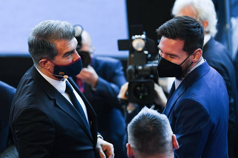 Barcelona president Joan Laporta with Lionel Messi