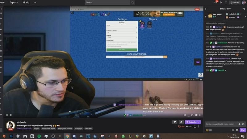 MrGolds was caught using a cheat during a Call of Duty stream.