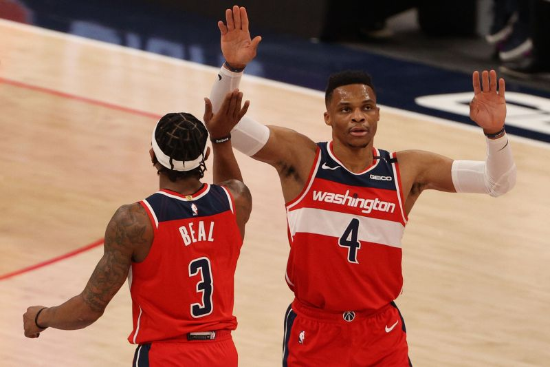Russell Westbrook (#4) and Bradley Beal (#3) of the Washington Wizards