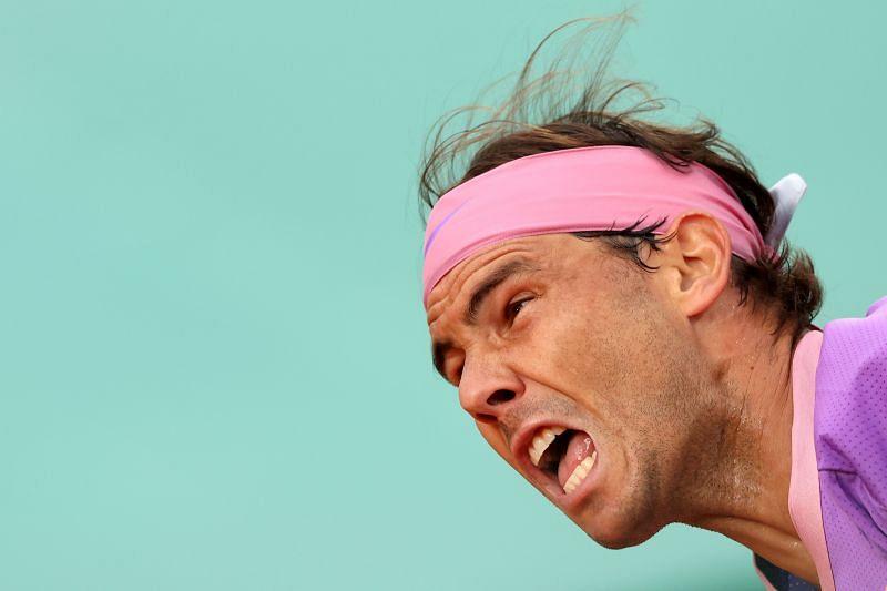 Rafael Nadal serves at the Monte Carlo Masters