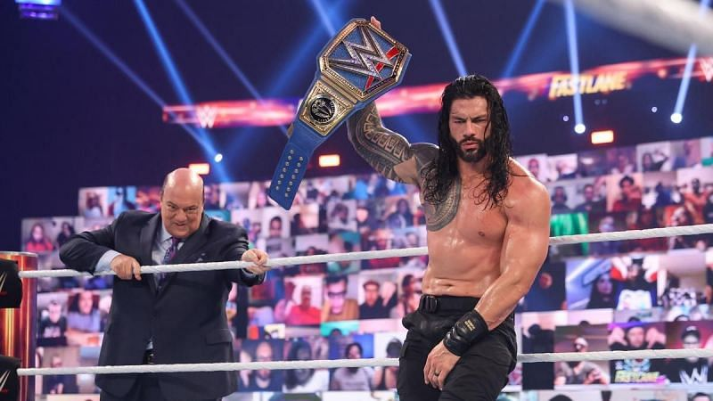 Roman Reigns after retaining his WWE Universal Championship.