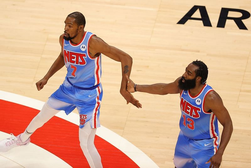 Both James Harden (right) and Kevin Durant (left) are injured for the Brooklyn Nets.