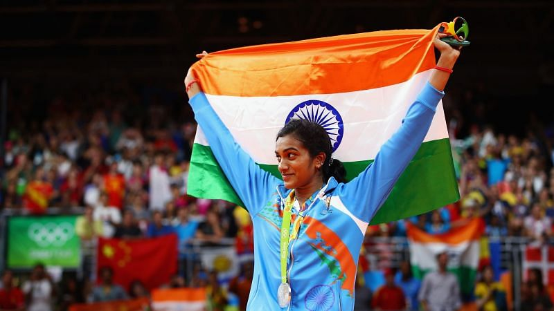 PV Sindhu celebrates winning the silver medal at the Rio Olympics