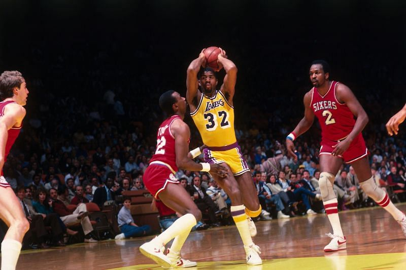 Magic Johnson against the Sixers.