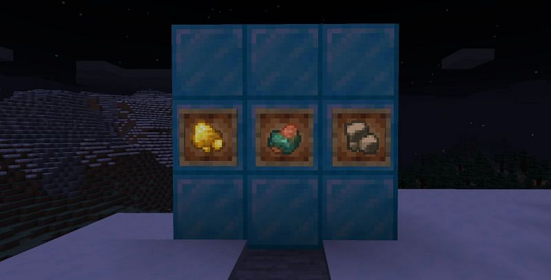 Shown: Raw Gold, Copper and Iron in Minecraft (Image via Minecraft)