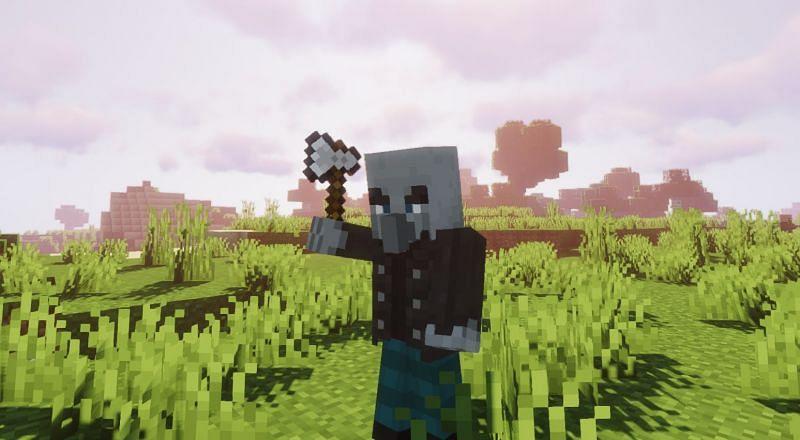 A Vindicator about to strike! (Image via Minecraft)