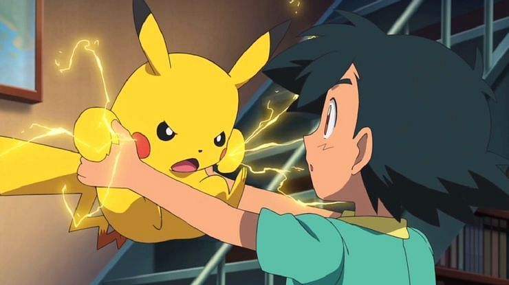 Ash with an angry Pikachu in the anime (Image via The Pokemon Company)