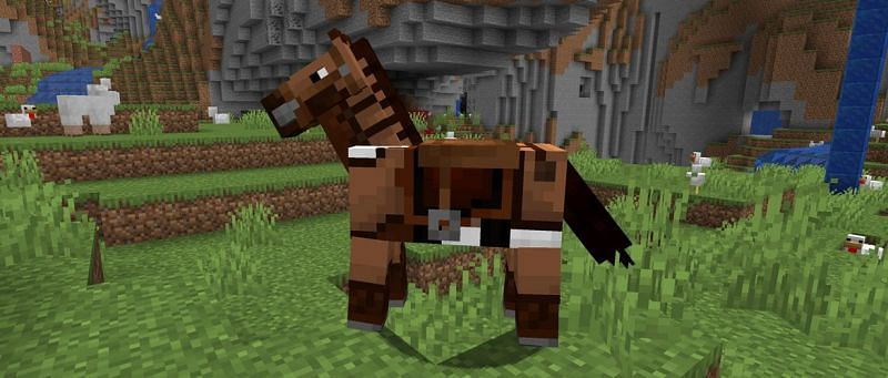 Saddles cannot be crafted and can only be found within the Minecraft world (Image via Minecraft)