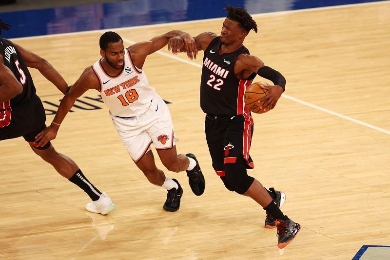 Jimmy Butler #22 drives versus the New York Knicks