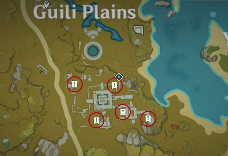 Genshin Impact map: stone tablet locations for Treasure Lost, Treasure Found
