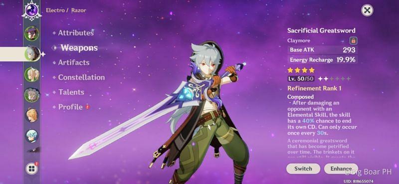 Sacrificial Sword in Genshin Impact (Image via Hoyolab/ Big Boar PH)