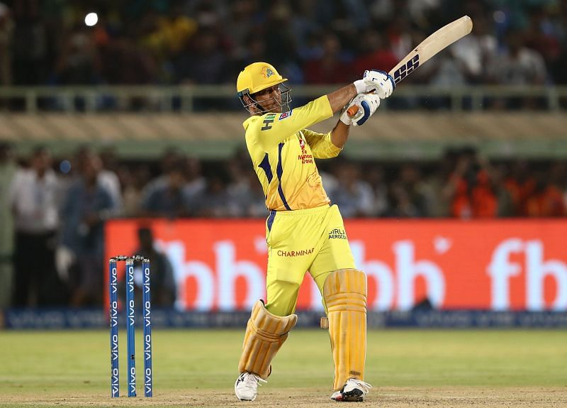 MS Dhoni in action for CSK.