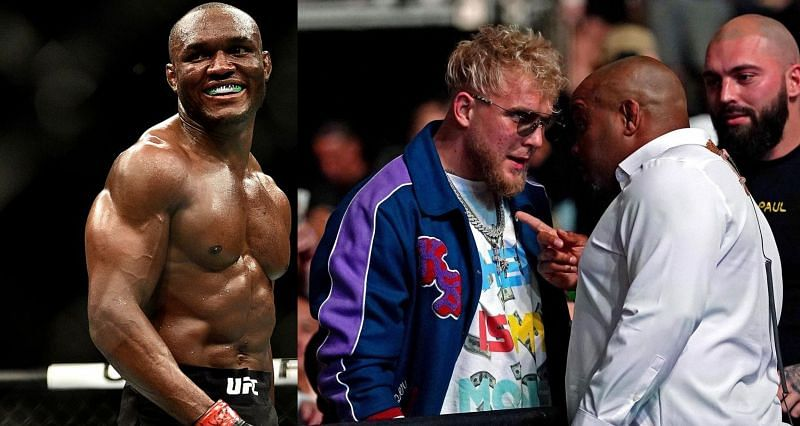Kamaru Usman (Left) and Daniel Cormier with Jake Paul at UFC 261 (Right)