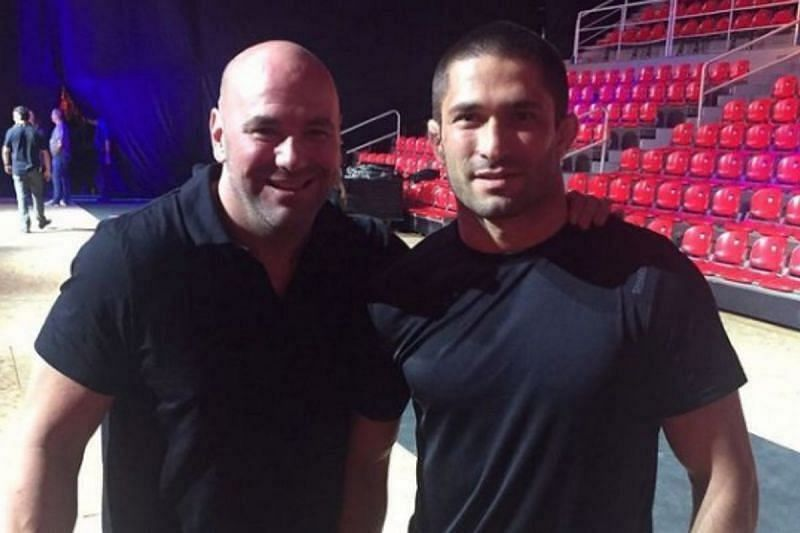 Dana White (left) and Khetag Pliev (right) in 2017