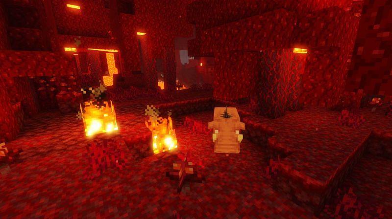 Shown: A Hoglin found in a dense Crimson Forest in Minecraft (Image via Minecraft)