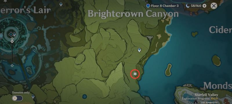 Carrot location in Genshin Impact: Brightcrown canyon