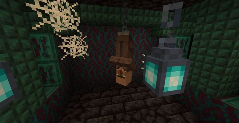 Villager hanging to a chain