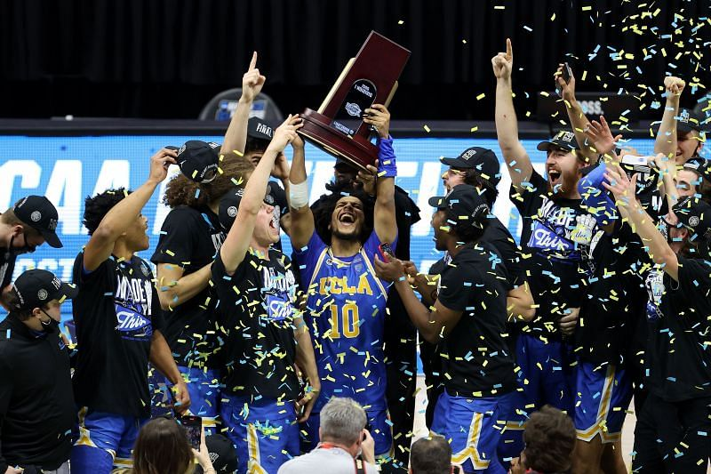 The UCLA Bruins celebrate Elite Eight victory over Michigan