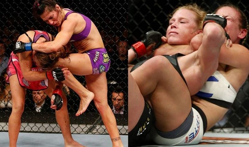 Miesha Tate (far left) gets hit with a knee from Cat Zingano (second from left); Miesha Tate choking out Holly Holm (right)