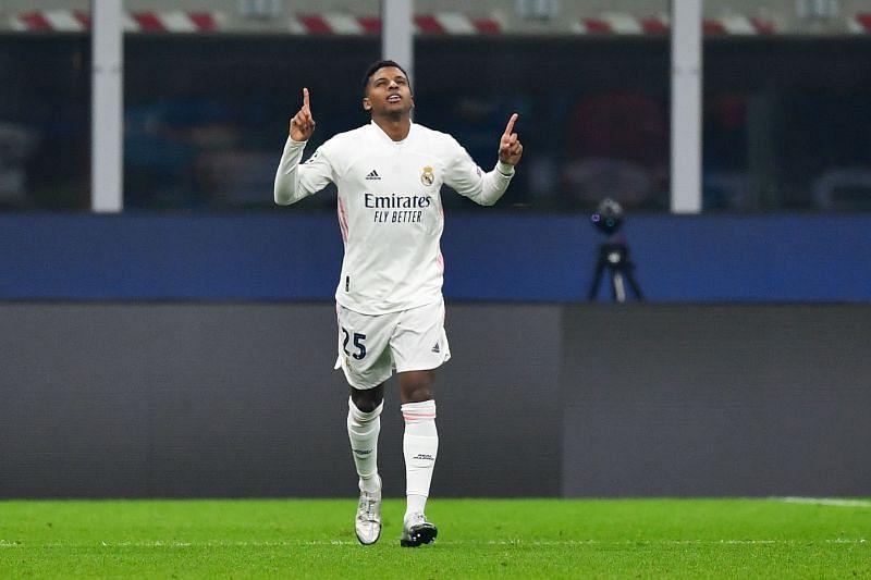 Rodrygo celebrates a goal for Real Madrid